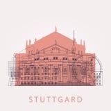 Outline Stuttgart skyline with landmarks. Royalty Free Stock Photo