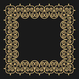 Outline style gold background. Square ornamental frame with curls on black. Stock Images
