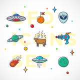 Outline Style Vector UFO or Alien Icons Set. Premium Space Symbols and Signs. Bright Colors.  stock illustration