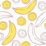 Outline stylized seamless pattern with banana Stock Images