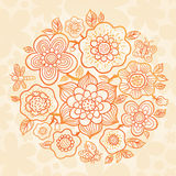 Outline summer bouquet on floral seamless texture. Stock Photography