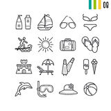 Outline summer icons set Stock Photos