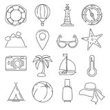 Outline summer or vacation vector icon set isolate on white background. Pool, sunset and leisure illustrations Stock Photo