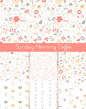 Outline sunday morning coffee seamless pattern collection Royalty Free Stock Photo