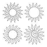 Outline suns for coloring Stock Images