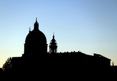 Outline of the SUPERGA Cathedral near the city of Turin Stock Photography