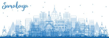 Outline Surabaya Skyline with Blue Buildings. Stock Images
