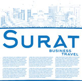 Outline Surat Skyline with Blue Buildings and Copy Space. Royalty Free Stock Images