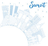 Outline Surat Skyline with Blue Buildings and Copy Space. Stock Photo