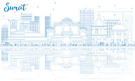 Outline Surat Skyline with Blue Buildings and Reflections. Royalty Free Stock Photography