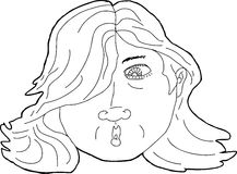 Outline of Surprised Woman Royalty Free Stock Images