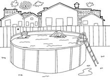 Outline Swimming Pool Scene. Hand drawn outline of children in outdoor pool Stock Photos