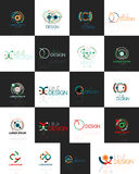 Outline swirl and circle minimal abstract geometric logo set Stock Photo