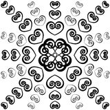 Outline swirly hearts. Seamless valentine pattern. Stock Photography