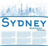 Outline Sydney Australia Skyline with Blue Buildings and Copy Sp Stock Images