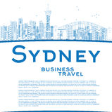 Outline Sydney City skyline with skyscrapers and copy space Stock Images