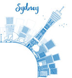 Outline Sydney City skyline with skyscrapers and copy space Royalty Free Stock Photography