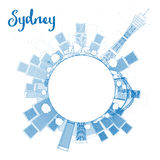 Outline Sydney City skyline with skyscrapers and copy space Royalty Free Stock Image