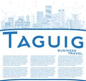 Outline Taguig Philippines City Skyline with Blue Buildings and Stock Image
