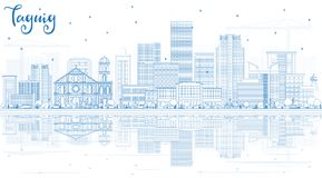 Outline Taguig Philippines Skyline with Blue Buildings and Reflections. Vector Illustration. Business Travel and Tourism Concept with Modern Architecture vector illustration