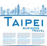 Outline Taipei skyline with blue landmarks and copy space Royalty Free Stock Image