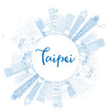 Outline Taipei skyline with blue landmarks and copy space. Royalty Free Stock Photography