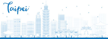 Outline Taipei skyline with blue landmarks Stock Photography