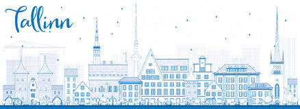 Outline Tallinn Skyline with Blue Buildings. Royalty Free Stock Images