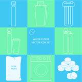 Outline tap water filter icon set. Drink and home water purification filters Different tap  filtration systems for water treatment Royalty Free Stock Image