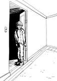 Outline of Teen Standing in Doorway Stock Images