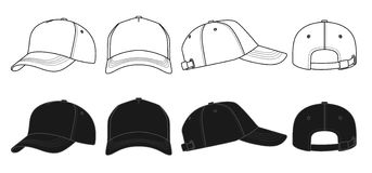 Outline template cap. Outline template white and black cap on a white background Royalty Free Stock Photo