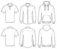 Outline template polo, shirt and hoody. On a white background Stock Photos
