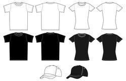 Outline template shirt and cap Stock Photos