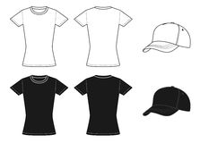 Outline template womens shirt and cap Stock Photography