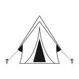 Outline tent equipment camping activities vector illustration