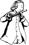 Outline of 18th century man playing flute. Outline illustration of single man in 18th century clothing and wig playing a flute Stock Illustration