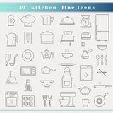 Outline thin kitchen icons. Set of household appliances, kitchen and restaurant accessories, equipment, cooking utensils, cutlery tools, kitchenware and cookware Stock Images