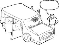 Outline of Thinking Man and Broken Windshield Stock Images