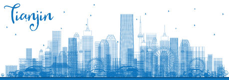 Outline Tianjin Skyline with Blue Buildings. Stock Image