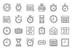 Outline time icon. Timekeeper, stopwatch and timer icons. Alarm clock, calendar and line hourglass sign vector set. Outline time icon. Timekeeper, stopwatch and royalty free illustration
