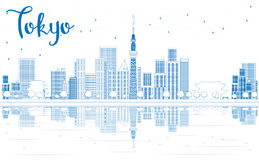 Outline Tokyo skyline with skyscrapers and Reflection. Royalty Free Stock Image