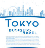 Outline Tokyo skyline with skyscrapers, sun and copy space. Royalty Free Stock Photography