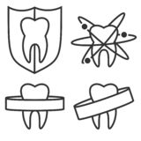 Outline tooth icons royalty free illustration