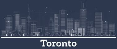 Outline Toronto Canada City Skyline with White Buildings. Vector Illustration. Business Travel and Concept with Modern Architecture. Toronto Cityscape with royalty free illustration