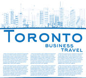 Outline Toronto skyline with blue buildings and copy space. Royalty Free Stock Photo