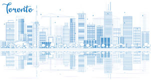 Outline Toronto skyline with blue buildings and reflections. Stock Photography