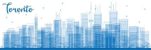 Outline Toronto skyline with blue buildings. Royalty Free Stock Photos