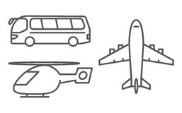 Outline transport icons set Stock Images