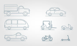 Outline transport. Modern Flat Design Transport Symbols Stylish Retro Stock Photo