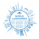 Outline travel concept around the world with famous internationa. L landmarks. Vector illustration with copy space. Business or tourism travel concept with place Stock Photography